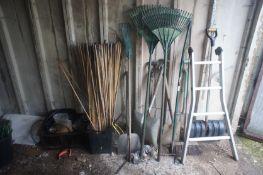 Qty of various hand tools inc. shovels, spades canes etc.