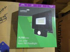 40 x LED 20W PIR High Powered Flood 4000K 220/240V Black 1900lm OEM Trade Price £400