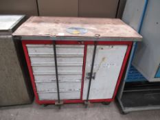 Mobile steel tool cabinet
