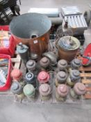 Pallet to contain 14 x Tilly Lamps Together with Vintage Brass Water Pump, Bird Cage etc