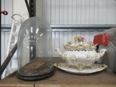 Ornate Vintage Tureen on stand along with Glass Domed Presentation Case