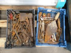 Qty of various Hand Tools in 2 Plastic Crates