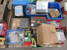 Pallet to contain qty of various screws, drill bits, ratchet straps, hand tools etc.