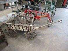 Antique Wood 4 Wheeled Garden Cart