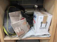 Welding Apron, Joiners Belt, Heater, Meter Wheel and Box of Cement