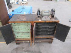 Wooden Tooling Cabinet complete with Draper 240v Grinder