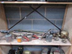 4 x Gas Torches, 2 x Brass Lamps (repro) and Horse Harness