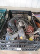 Qty of various 240 volt/ 110 volt tools to basket with various other tooling