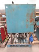 Steel oil tank on stand with fuel pump and hose reel