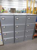 3 x Haworth four draw filing cabinets (no keys)