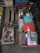Pallet to contain various hand tools, sub. Pump, impact drivers etc.