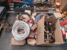 Contents of pallet to include wire brushes, Various Nuts/ Bolts and Screws and various Pip