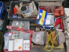Pallet to contain 110v Flood Light, Crate of Various Wall Plugs etc