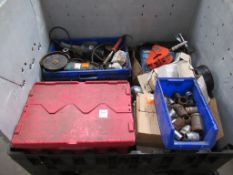 Stillage to contain Various Power Tools, Cutting Disks, Sockets, 2 x Manual Sheering sets etc