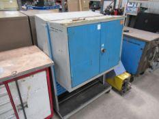 Double door double side mobile bin cabinet