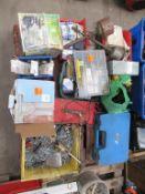 Pallet to contain various hand tools, screws, garden pond pump, stapling pliers etc.