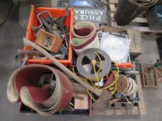 Contents of pallet to include Hand Tools, Cable Reels and Abrasives etc