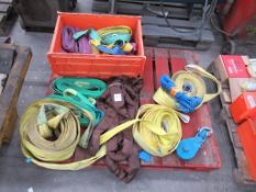 Pallet to contain Various Lifting Slings and Ratchet Straps
