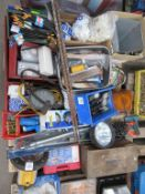 Pallet to contain qty of various hand tools, screws, lights, drill-bit sharpener etc.