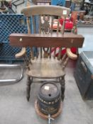 High Backed Oak Effect Spindle Chair with Red Wood Box and Gonzalez Byass Sherry Barrel