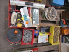 Pallet to contain various screws, nails, hand tools, ratchet set etc.