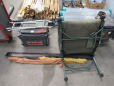Various Fishing Tackle Including Rods, Bed, Reel Tackle Box and Seat