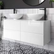 NEW 1200mm Trevia High Gloss White Double Basin Cabinet - Wall Hung. Comes complete with basin.