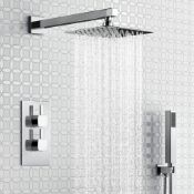 New & Boxed Thermostatic Concealed Mixer Shower Set 8 Inch Head Handset + Chrome 2 Way Valve Kit.