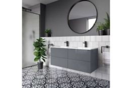 NEW 1200mm Trevia High Gloss Grey Double Basin Cabinet - Wall Hung. Comes complete with basin.