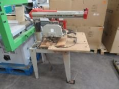 Omga RN 450 Radial Arm Saw, YOM:1984; 415V. 3PH, 50Hz, S/N 156715. Please note there is a £5 Plus