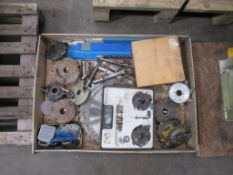 Pallet to contain various Mortising Chisels, Saw Blades, Spindle Moulded Cutters etc Please note