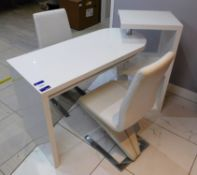 Contemporary White Gloss Two Section Desk and Shel