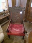 Oak Armchair Red Leather Seat, Oak Side Table on L