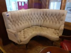 Late Victorian Corner Seat Unit, Ivory Buttoned Le