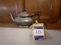 Silver Plated Teapot, Ceramic Vase, Pair of Booken