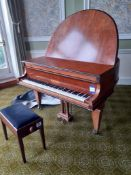 Knake Baby Grand Piano with Cover & Piano Stool