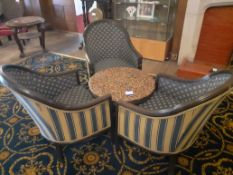 Granite Topped Melamine Table with Three Armchairs