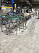 Two Sections of Powered Box Conveyor Feeding Pallets