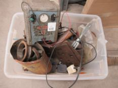 Contents of plastic Crate to include Battery Charger, Bearing Jacks etc