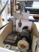 Small Manual Fabricated Pillar Drill with Klaxon Ltd Model Bench Grinding and Polishing Wheel