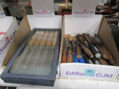 Contents of 2 boxes to include various Woodworking Chisels and Cold Chisels along with various Circu