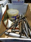 Box of Engineering Items including Tapered Pieces, Gears, Cutters etc