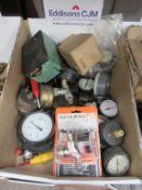 Box of various Air/Gas pressure Gauges