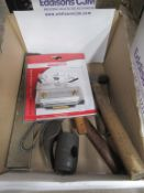 Various Tools in box to include Hammers, Square, Chisel Sharpener etc