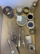 Four Hallmarked Silver Topped Jars, Pair of Photo Frames, London Hallmarked. Small Chamber Stick Bir