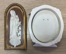 Oriental Ivory Carved Panel and an Ivory Picture Frame