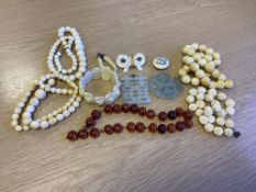 Antique Ivory Blade Necklaces, Amber Beads etc