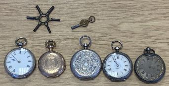 """4 x Silver Fob Watches and a Yellow Metal Fob Watch marked """"Crown Watch Company"""""""