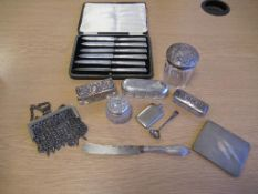 Five Edwardian Hallmarked Silver and Cut Glass Jars/Boxes Silver Handled Tea Knives, an unusual Fold