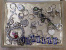 Gemset Rings, Bracelets etc mostly marked 925 sterling silver etc